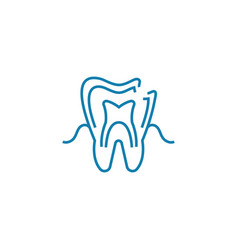examination at the dentist linear icon concept vector image