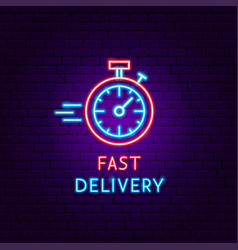 fast delivery neon label vector image
