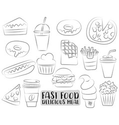 Fast food cartoon icons and objects set black and vector
