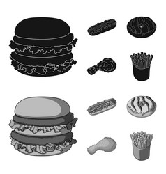 fast food meal and other web icon in black vector image