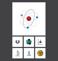 Flat icon science set of attractive force glass vector