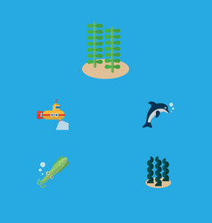 Flat icon sea set of playful fish periscope vector