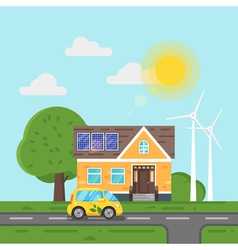 flat style of electric car and house with solar vector image