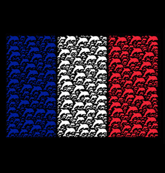French flag collage of dolphin items vector
