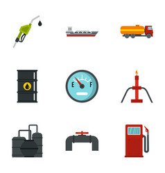 Fuel and oil icons set flat style vector