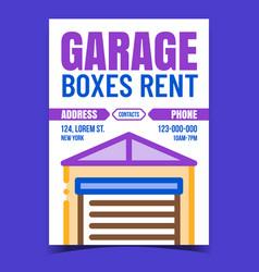 Garage boxes rent creative promotion banner vector