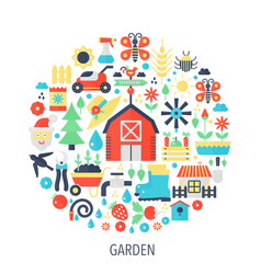 garden flat infographics icons in circle - color vector image