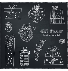 Gift boxes doodle set Vintage for vector image