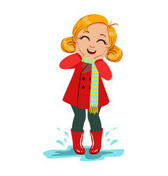girl in red coat and rubber boots kid in autumn vector image