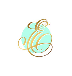 Gold calligraphy letter on circle blue background vector