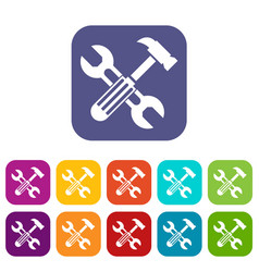 hammer and screw wrench icons set vector image