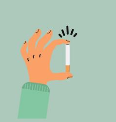 Hand holding cigarette butt vector
