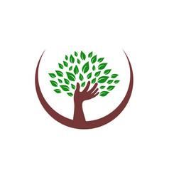 hand tree abstract logo icon vector image