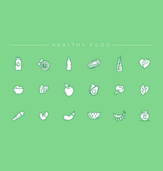 healthy food concept line style icons set vector image