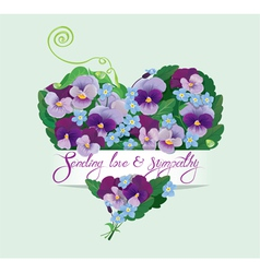 Heart shape is made of beautiful flowers - pansy vector