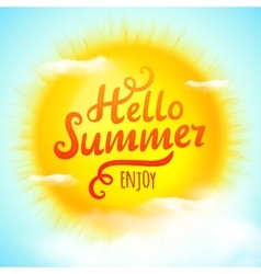 Hello summer typographic inscription on 3D vector image