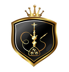 Hookah golden symbol on shield vector