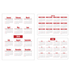 horizontal and vertical pocket calendar on 2018 vector image