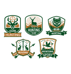 Hunting club icons or badges set vector