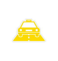 Icon sticker realistic design on paper taxi car vector