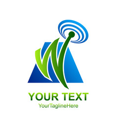 Initial letter w logo template colored blue green vector