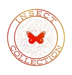Insect collection orange round label vector