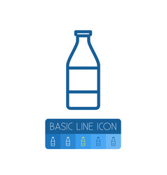 isolated glass bottle outline milk element vector image