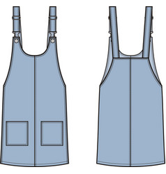 jean overall dress front and back vector image
