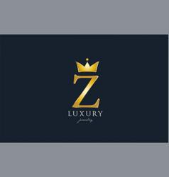 jewelry gold z alphabet letter logo icon creative vector image