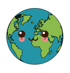 Kawaii world earth global map continent geography vector