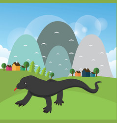 komodo dragon reptile with vector image