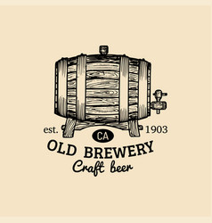 kraft beer barrel logo old brewery icon hand vector image vector image