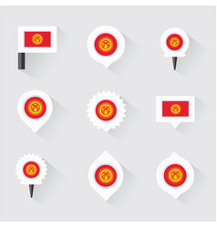 kyrgyzstan flag and pins for infographic and map vector image