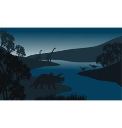 Landscape dinosaur silhouette in river vector