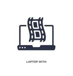 Laptop with film strip icon on white background vector
