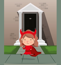 Little girl with devil costume in house entrance vector