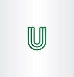 logo u letter logotype u green icon vector image