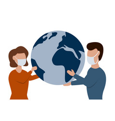 man and woman in medical face mask holding earth vector image