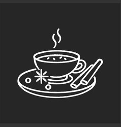 Masala chai chalk white icon on black background vector