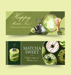 Matcha sweet banner design with bowl donut vector