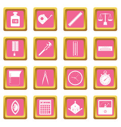 measure precision icons pink vector image
