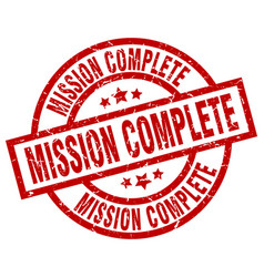 mission complete round red grunge stamp vector image