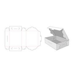 No glue cake container box die cut template vector