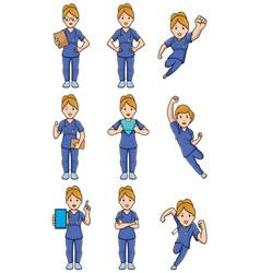 nurse caucasian female set vector image