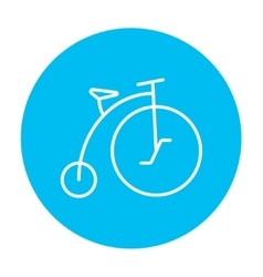Old bicycle with big wheel line icon vector image