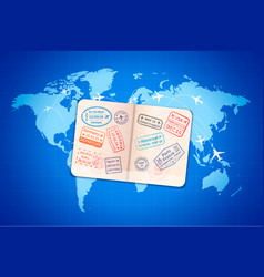open foreign passport with international visa vector image