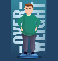 Overweight man on scales concept banner cartoon vector