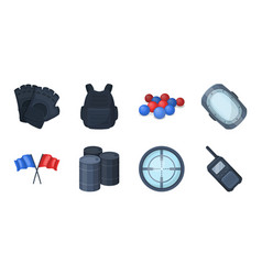 paintball team game icons in set collection for vector image