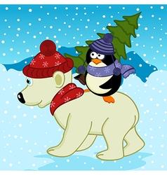 Penguin holding spruce on polar bear vector