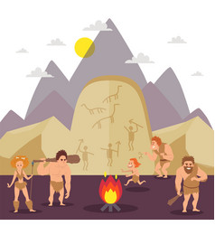 Primitive people cartoon characters stone age vector
